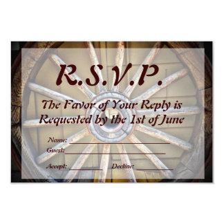 """Southwestern Wagon Wheel Wedding RSVP Card 3.5"""" X 5"""" Invitation Card"""