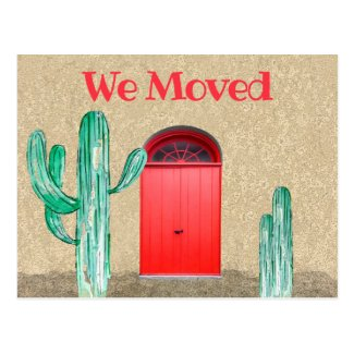 Southwestern We Moved Announcement Doors Cactus Postcard