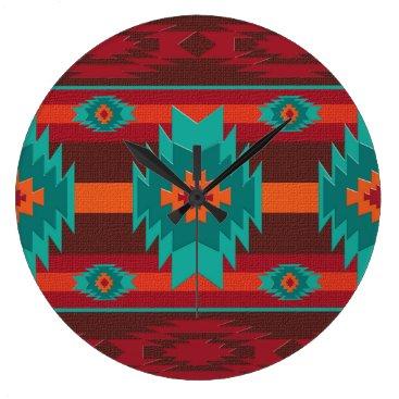 Aztec Themed southwestrn ethnic navajo geometric pattern. large clock