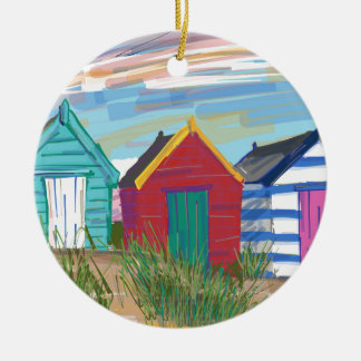Southwold Beach Huts Double-Sided Ceramic Round Christmas Ornament