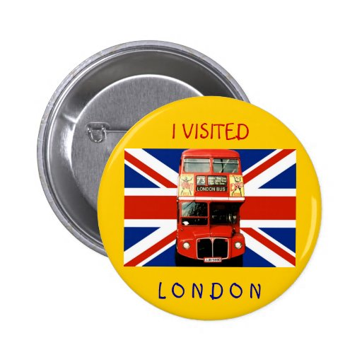 Souvenir Badge with Bus and British Flag 2 Inch Round Button