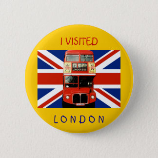 Souvenir Badge with Bus and British Flag Pinback Button