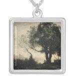 Souvenir of Castel Gandolfo Square Pendant Necklace