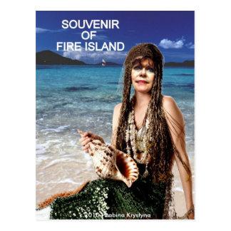 SOUVENIR OF FIRE ISLAND MERMAID POSTCARD