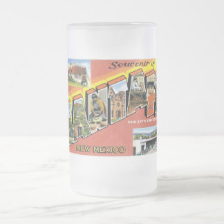 Souvenir of Santa Fe, New Mexico Frosted Glass Beer Mug
