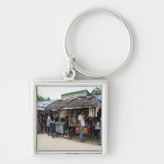 Souvenir stalls in Sulangan Silver-Colored Square Keychain