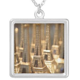 Souvenirs of Eiffel Tower Square Pendant Necklace