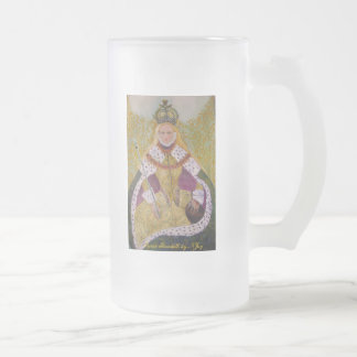 Sovereign Gold, Queen Elizabeth by NJoy 16 Oz Frosted Glass Beer Mug