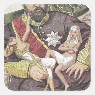 Sovereigns No.50 Caricature of Sultan Abdul Aziz Square Sticker