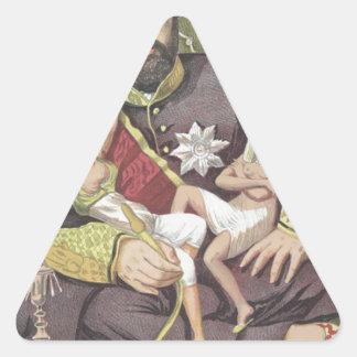 Sovereigns No.50 Caricature of Sultan Abdul Aziz Triangle Sticker