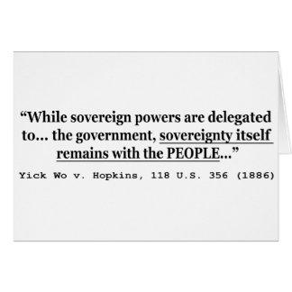Sovereignty Yick Wo v Hopkins 118 U.S. 356 (1886) Card