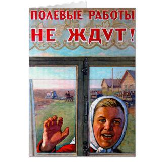Soviet Agricultural Porpaganda Greeting Card