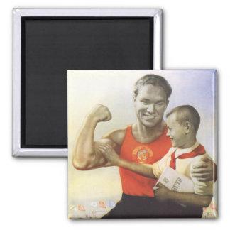 Soviet Athlete 2 Inch Square Magnet