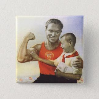 Soviet Athlete Pinback Button