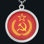 """Soviet Flag Necklace<br><div class=""""desc"""">A Soviet Union Russina Flag Design. Great gold and red design which makes a perfect gift for those who love all things soviet. Just remember that in soviet Russia gift buys you!</div>"""