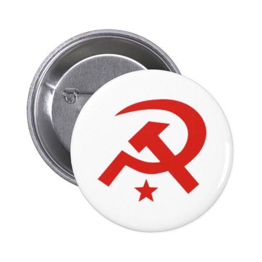 Soviet hammer and sickle design button