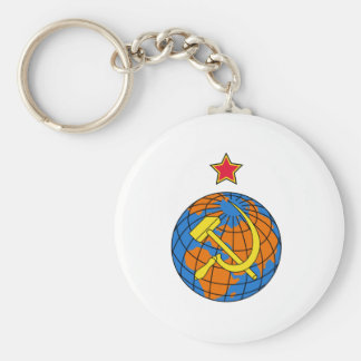 Soviet Hammer & Sickle and Earth Keychain