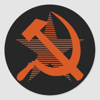 Soviet Red Hammer & Sickle Round Sticker
