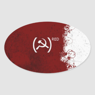 Soviet rojo abstracto de URSS Pegatina Ovalada