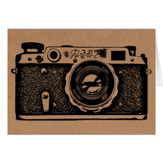 Soviet Russian Camera - Black on Cardboard Texture Card