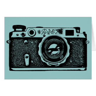 Soviet Russian Camera - Black on Lt Blue Green Card