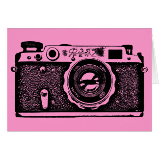 Soviet Russian Camera - Black on Pink Card