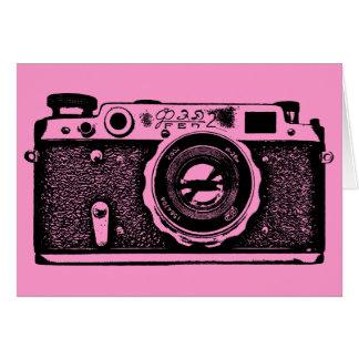 Soviet Russian Camera - Black on Pink Card