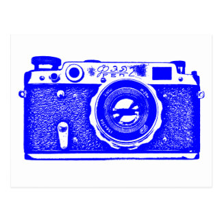 Soviet Russian Camera - Blue Postcard