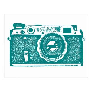 Soviet Russian Camera - Med Dk Cyan Postcard