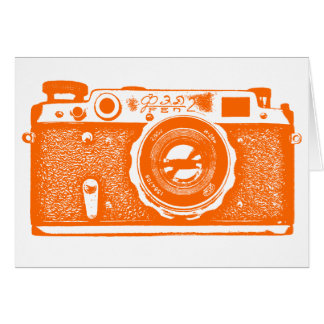 Soviet Russian Camera - Orange Stationery Note Card