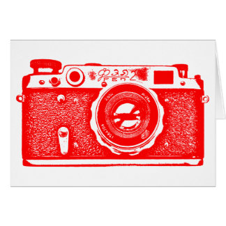 Soviet Russian Camera - Red Stationery Note Card