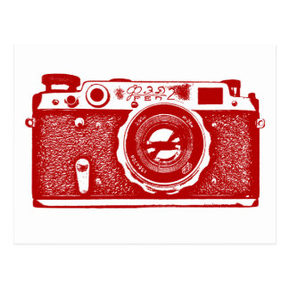 Soviet Russian Camera - Ruby Red Postcard