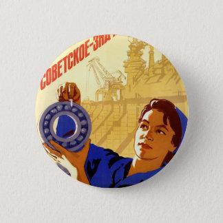 Soviet Space Program Propaganda Poster Button