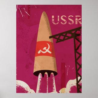 Soviet Space Program USSR Vintage Poster