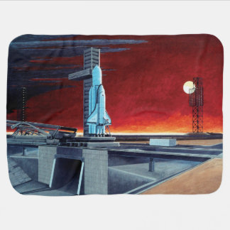 Soviet Space Shuttle Full Moon Launchpad Concept Receiving Blanket