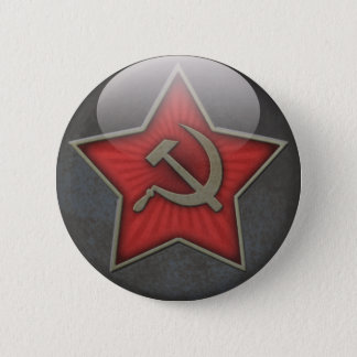 Soviet Star Hammer and Sickle Pinback Button