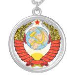 Soviet Union Emblem with CCCP Round Pendant Necklace
