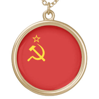 Soviet Union Flag Gold Plated Necklace