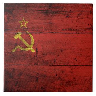 Soviet Union Flag on Old Wood Grain Ceramic Tile