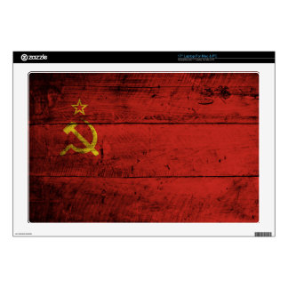 "Soviet Union Flag on Old Wood Grain Decal For 17"" Laptop"