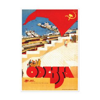 Soviet Union Odessa Vintage Travel Poster Restored Canvas Print