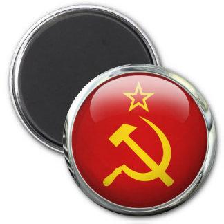Soviet Union Round Flag Glass Ball 2 Inch Round Magnet