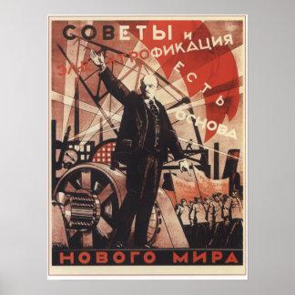 Soviet y electricidad póster