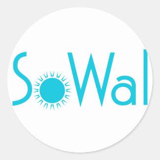 SoWal el condado de Walton del sur con Sun Pegatina Redonda