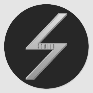 Sowilo Rune grey Classic Round Sticker