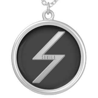 Sowilo Rune grey Silver Plated Necklace