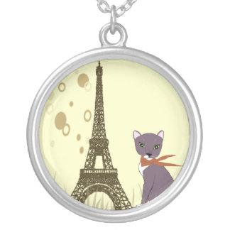 Soxy the Cat in Paris round pendant
