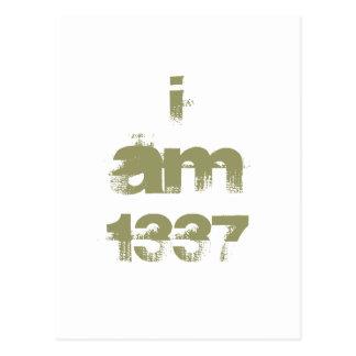Soy 1337. Videojugador de Leet. Texto verde de Postal