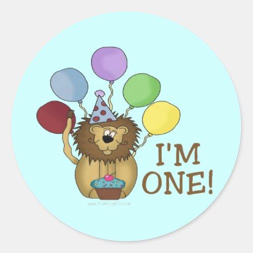 Soy 1 (el león) pegatina redonda
