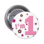 """""""Soy 1"""" rosa y cumpleaños de las flores de Brown Pin"""